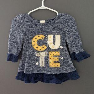 """Blue 3/4 length sleeve """"cute"""" shirt"""